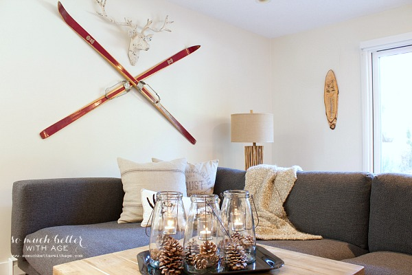 Rustic finds from Kirkland's / skis on wall in living room - So Much Better With Age