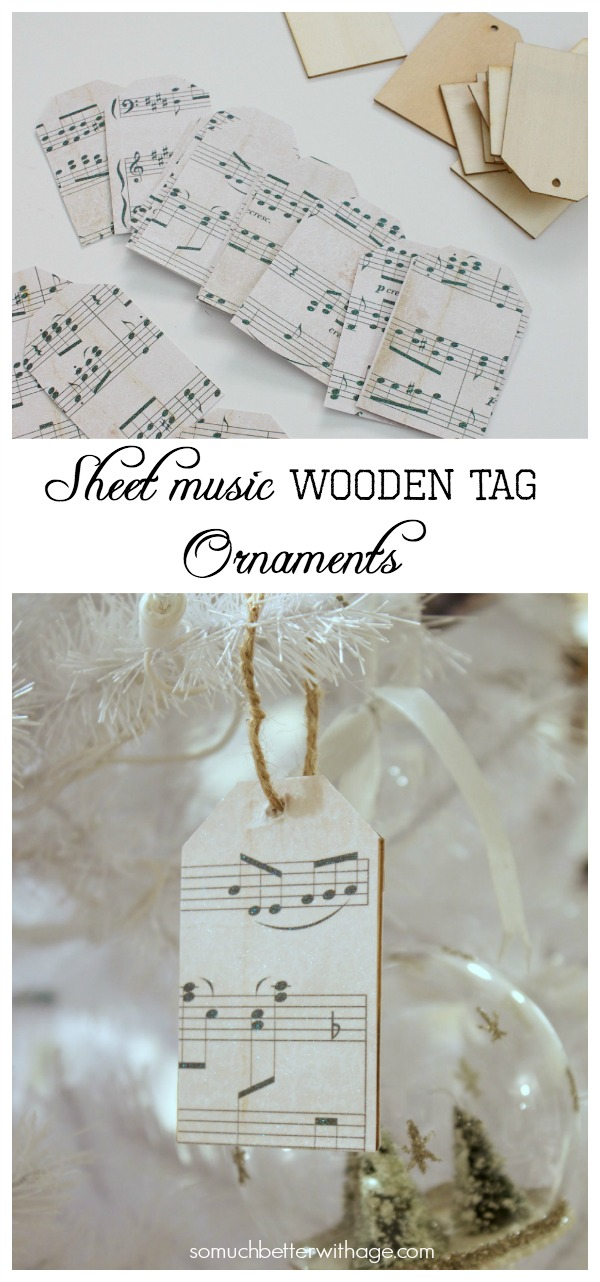 Sheet music wooden tag ornaments / pretty sheet music tags hanging on Christmas tree - So Much Better With Age