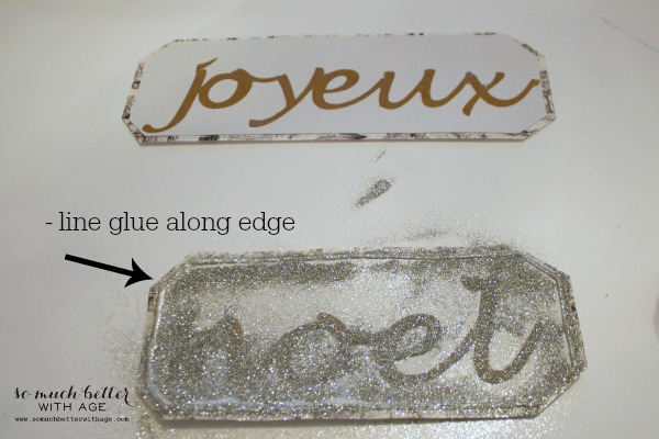 French Glittery Christmas Tree Sign Using Silhouette/  Joyeux Noel glittered - So Much Better With Age