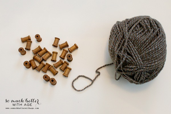Supplies for Spool and wool Christmas garland by somuchbetterwithage.com
