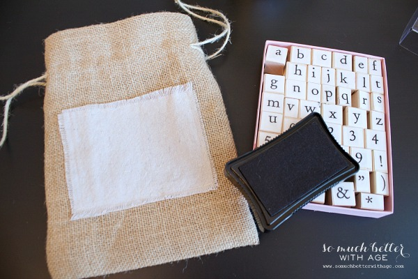 DIY Burlap & Cloth Gift Bag / stamp pad - So Much Better With Age