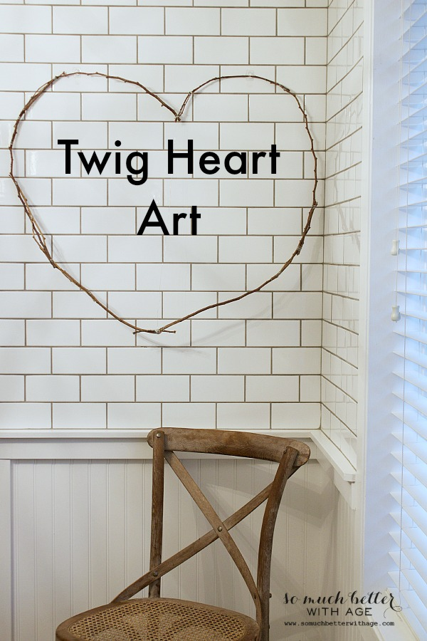 Twig Heart Art on the wall in the kitchen.