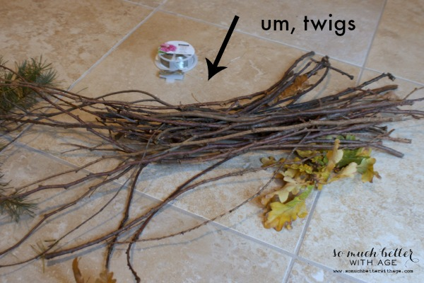 The twigs on the floor.