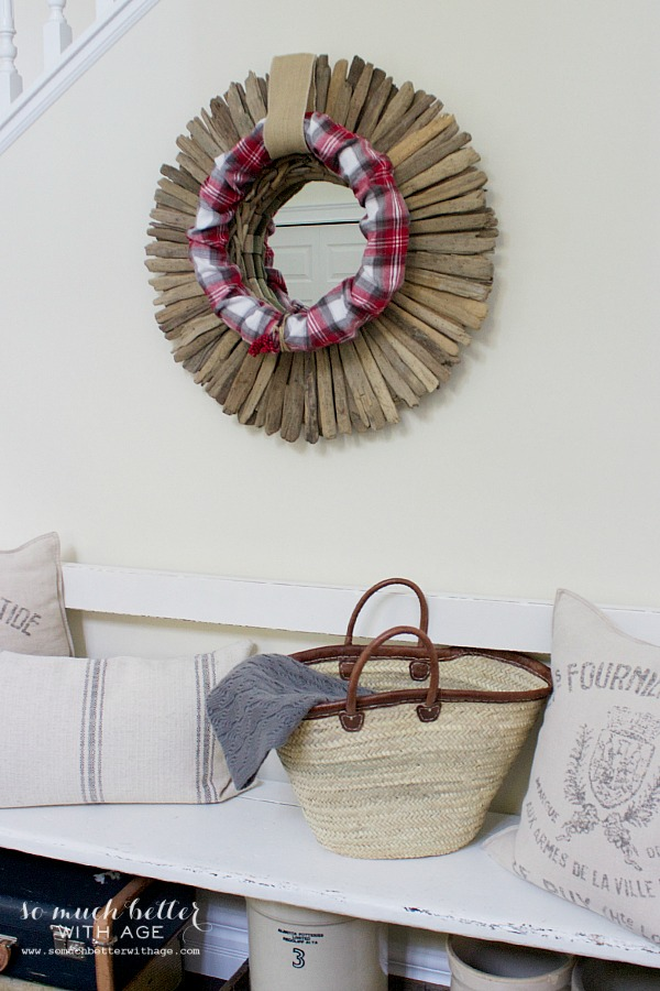 Plaid PJs to wreath / hanging on driftwood mirror - So Much Better With Age