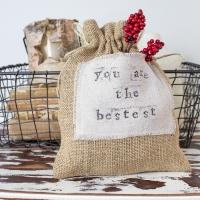 DIY Burlap and Drop Cloth Gift Bag