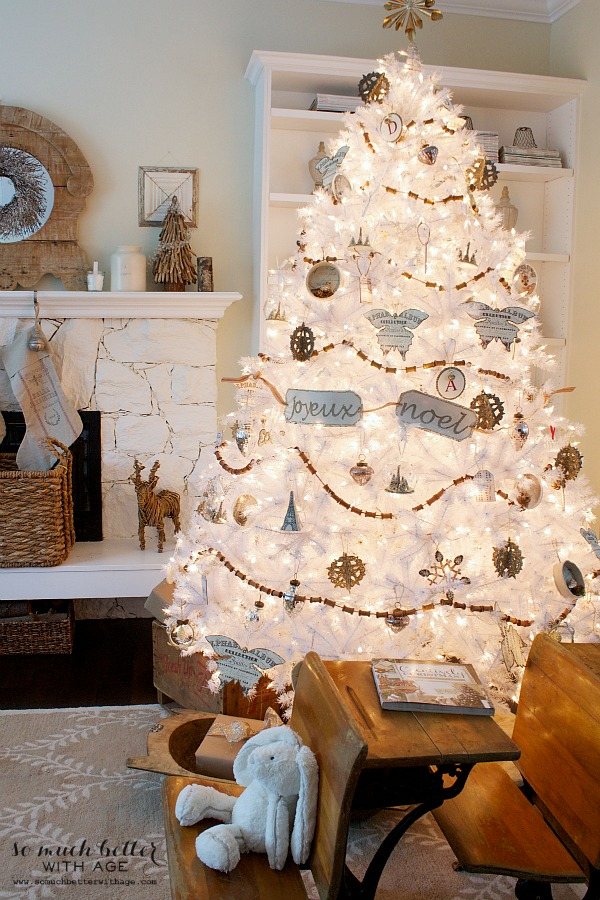 Dreaming of a white Christmas Balsam Hill white Christmas tree / children's desks - So Much Better With Age