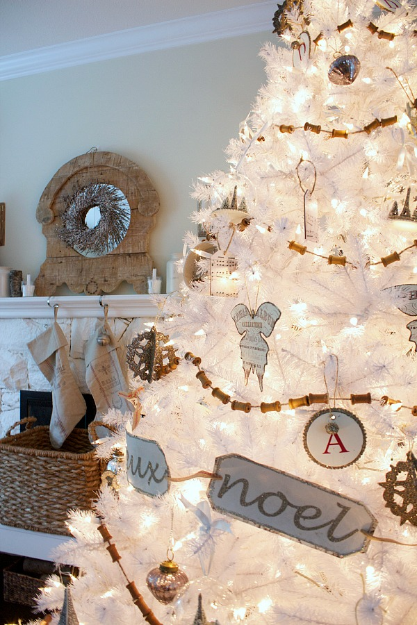 Dreaming of a white Christmas Balsam Hill white Christmas tree / decorated tree with decorated mantel - So Much Better With Age