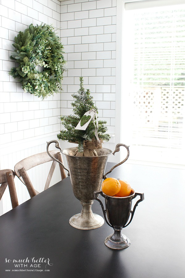 Christmas in my newly renovated kitchen / Christmas in kitchen, trophies, subway tile - So Much Better With Age