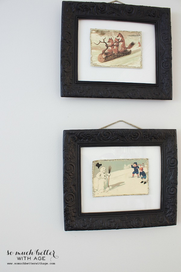 DIY Vintage Glitter Christmas Postcards / up close picture of the frames - So Much Better With Age