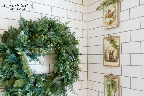 Vintage Vertical Christmas Garland / hanging in white kitchen with Christmas wreath - So Much Better With Age