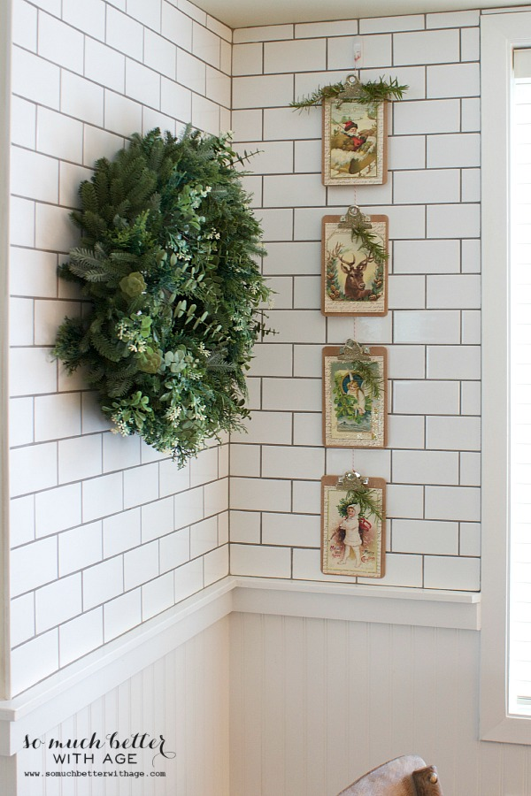 Vintage Vertical Christmas Garland / wreath hanging with the garland - So Much Better With Age