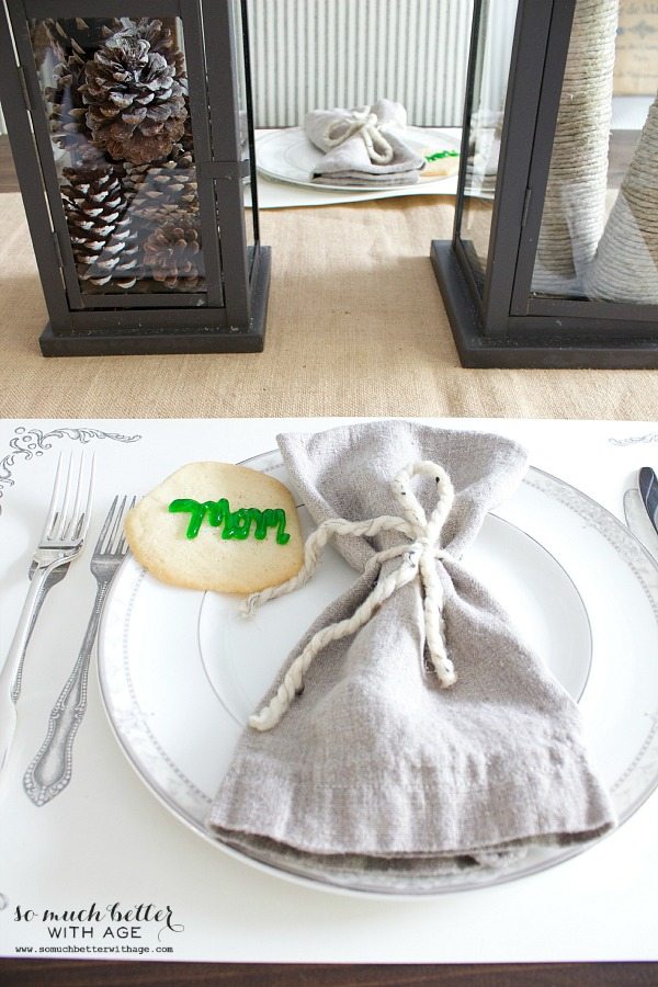 Neutral linen napkins on table setting.