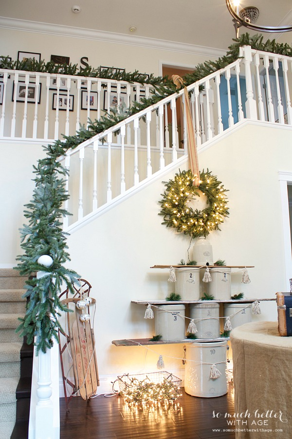 Christmas decorated foyer somuchbetterwithage.com