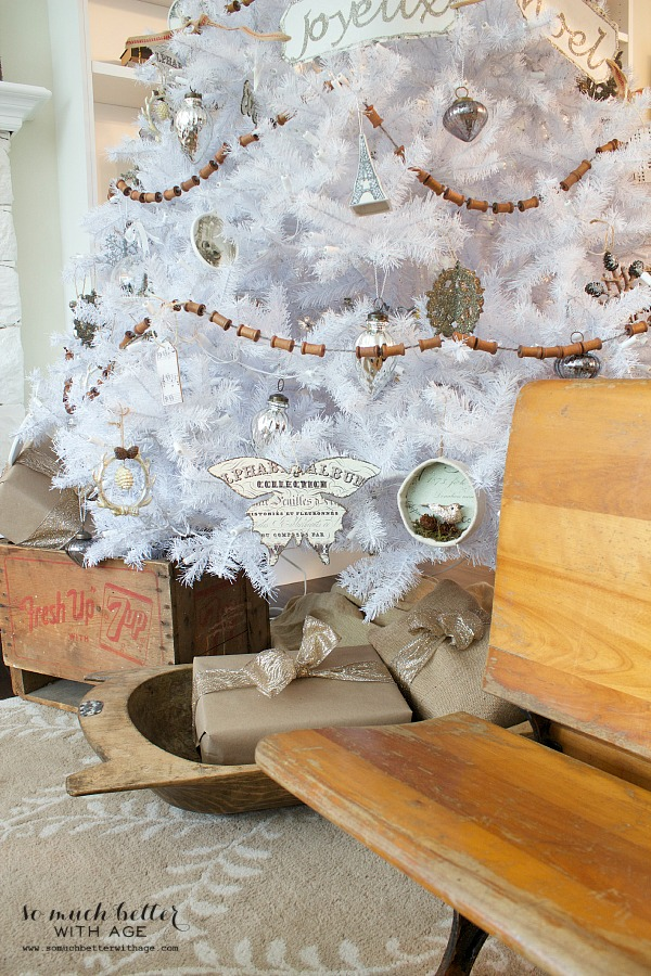 French Christmas decor on white Christmas tree | somuchbetterwithage.com