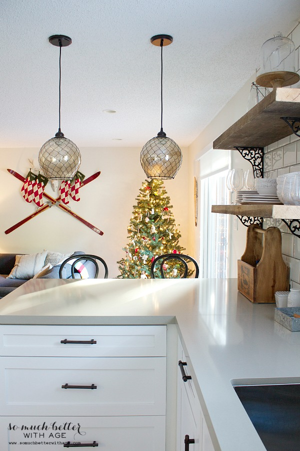 Not so rustic cabin Christmas tour and pfaltzgraff giveaway / kitchen counters with pendant lights - So Much Better With Age
