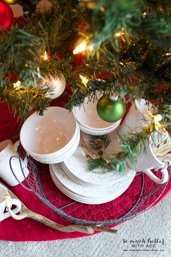 Not so rustic cabin Christmas tour and Pfaltzgraff giveaway / dinner set under Christmas tree - So Much Better With Age