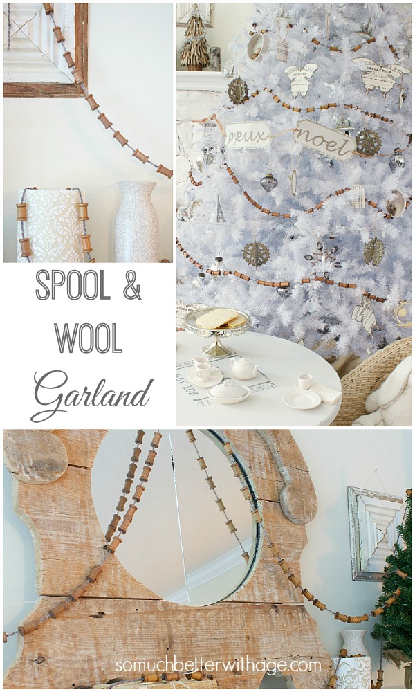 Spool and wool Christmas garland by somuchbetterwithage.com