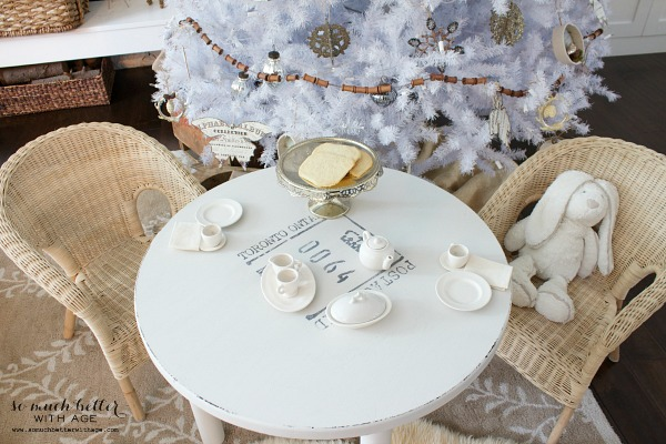 Dreaming of a white Christmas Balsam Hill Christmas tree / painted child's table - So Much Better With Age