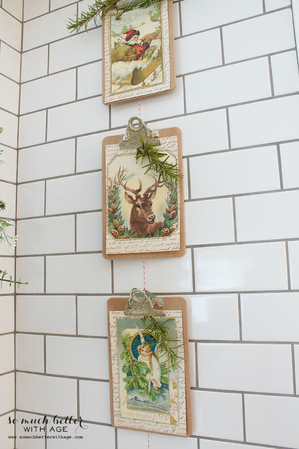 Vintage Vertical Christmas Garland / picture of deer - So Much Better With Age