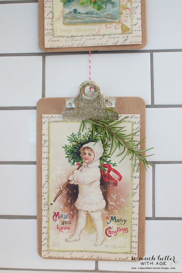 Vintage Vertical Christmas Garland / glitter clipboards - So Much Better With Age