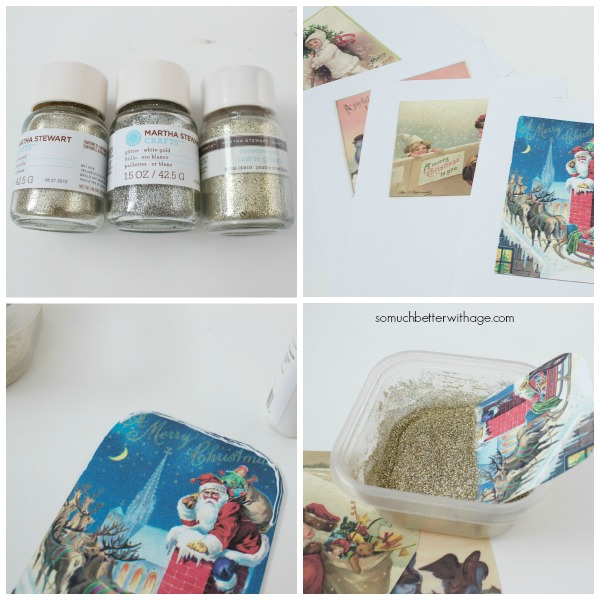 DIY Vintage Glitter Christmas Postcards / the supplies for the tutorial - So Much Better With Age