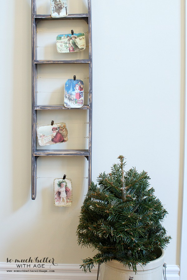 DIY Vintage Glitter Christmas Postcards / postcards displayed on a kids ladder - So Much Better With Age