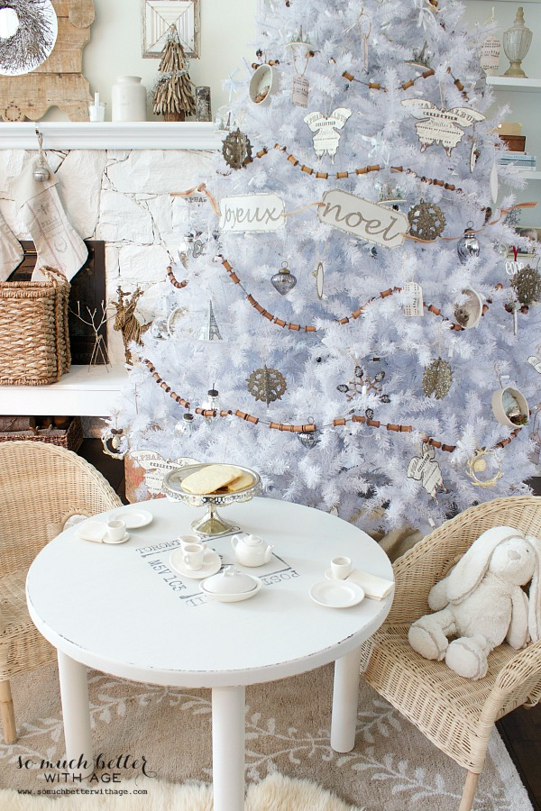 Dreaming of a white Christmas Balsam Hill Christmas tree / neutral French ornaments on tree - So Much Better With Age