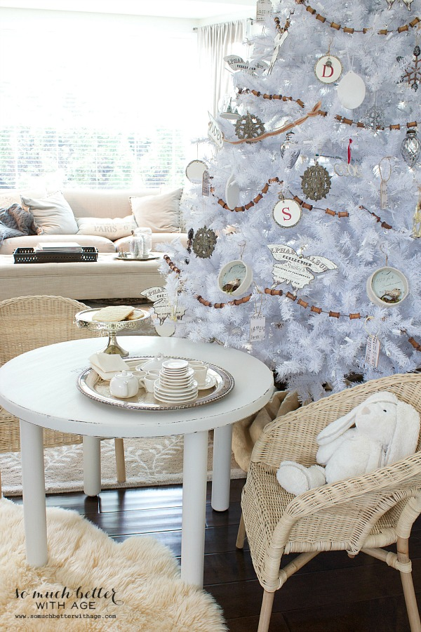 Dreaming of a white Christmas Balsam Hill white Christmas tree / child's table tea party in front of tree - So Much Better With Age