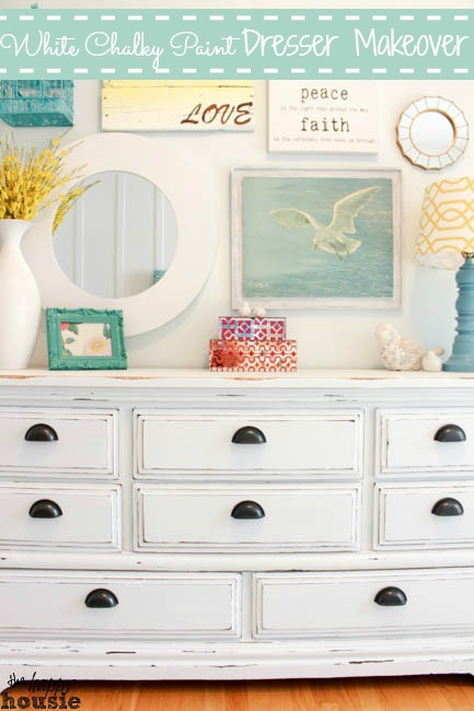 White Distressed Dresser Makeover So