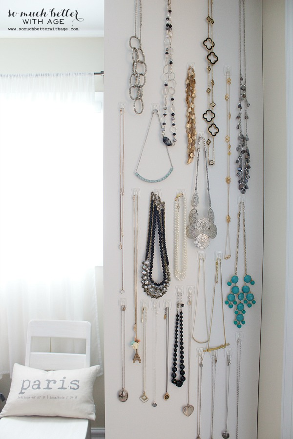 Easy necklace organization / necklaces hanging on hooks - So Much Better With Age