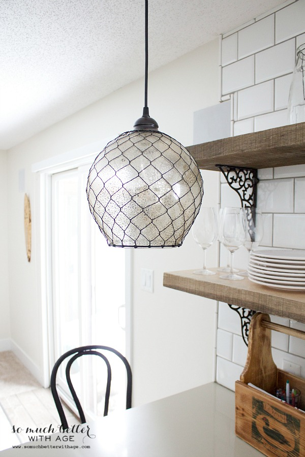 Mercury glass pendant light | somuchbetterwithage.com