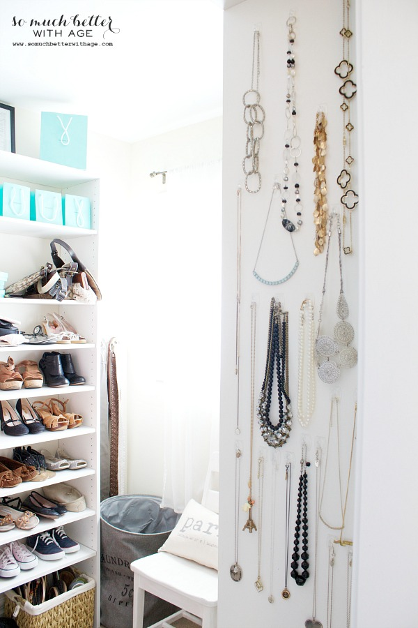 Necklace organization closet wall | somuchbetterwithage.com