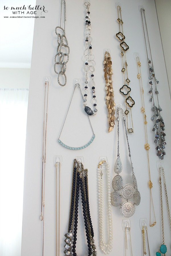 Easy necklace organization / necklaces hanging by hooks - So Much Better With Age
