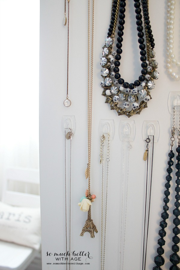 Easy necklace organization / up close of jeweled necklaces - So Much Better With Age