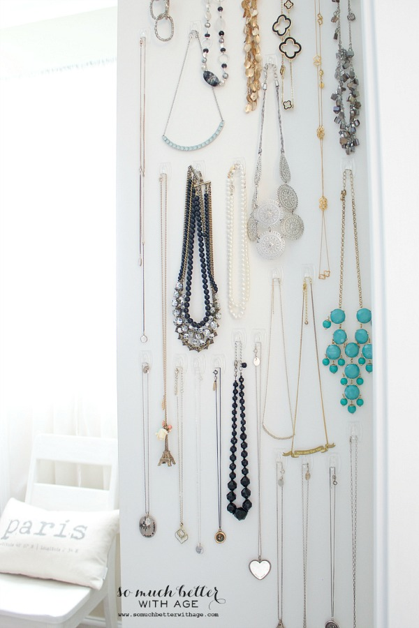 Easy necklace organization / pretty necklaces organized on hooks - So Much Better With Age
