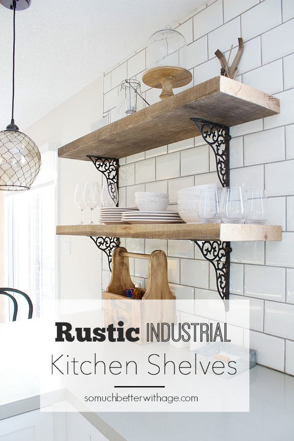 Shelving hanging on white subway tile.