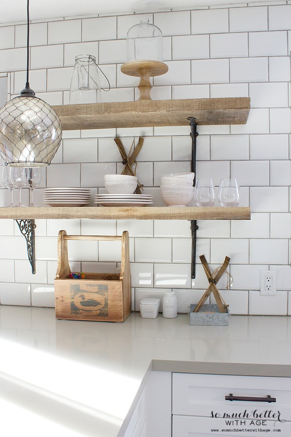 Rustic industrial kitchen shelves / close up picture of the brackets - So Much Better With Age
