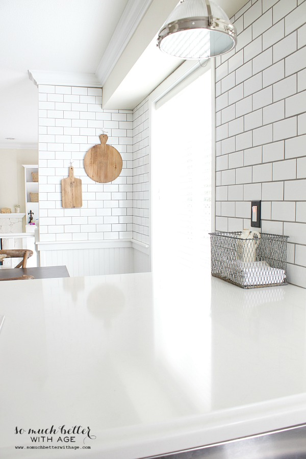Subway tile, white kitchen | somuchbetterwithage.com