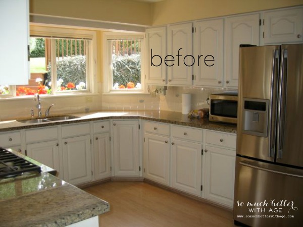 Industrial Vintage French Kitchen / before picture of kitchen cabinets - So Much Better With Age