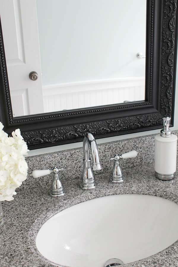 New bathroom faucet / Polished chrome faucet with porcelain handles - So Much Better With Age