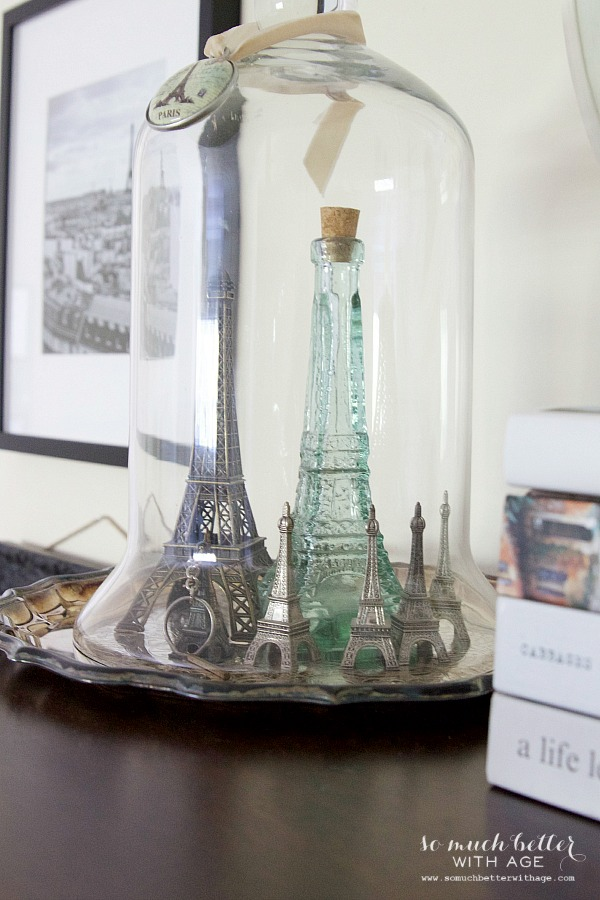 Paris artwork / Eiffel Tower under cloche - So Much Better With Age