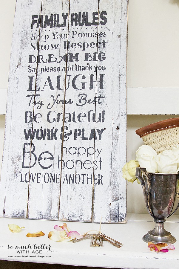 Family rules wooden pallet sign