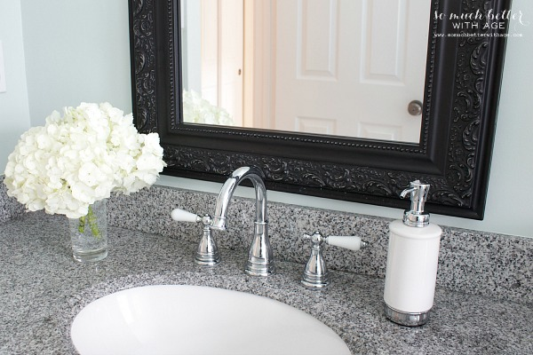 Hydrangas and polished chrome faucet by Pfister | somuchbetterwithage.com
