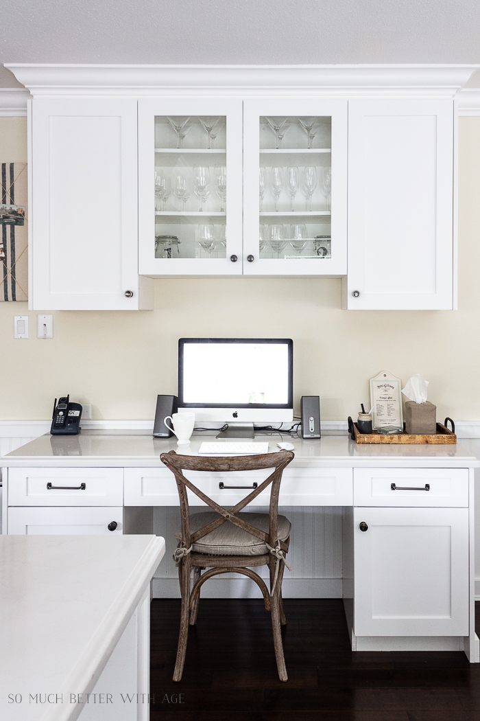 Butler pantry and kitchen office updates / French white kitchen office - So Much Better With Age