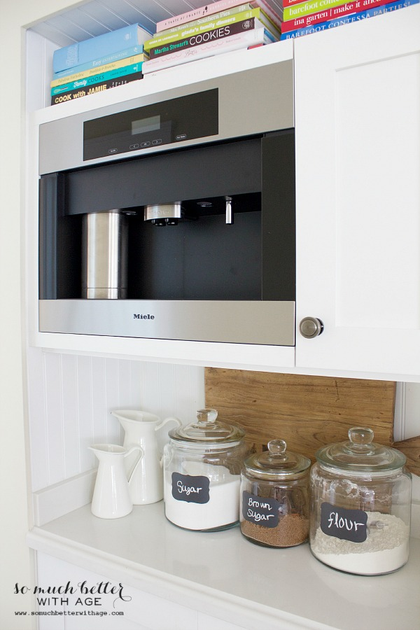 Butler pantry and kitchen office updates / Miele coffee maker , Mini butler pantry updates - So Much Better With Age
