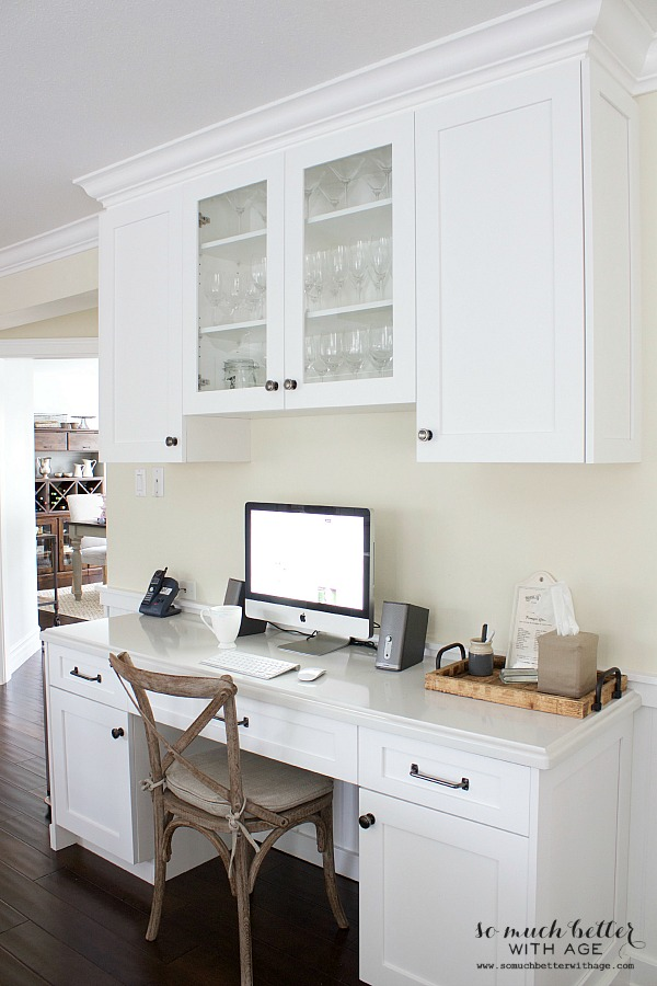 Butler pantry and kitchen office updates / white office desk - So Much Better With Age