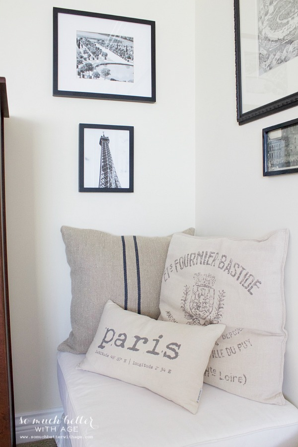 Black & white artwork, How to Pick Art with a French Vintage Vibe / French pillows - So Much Better With Age