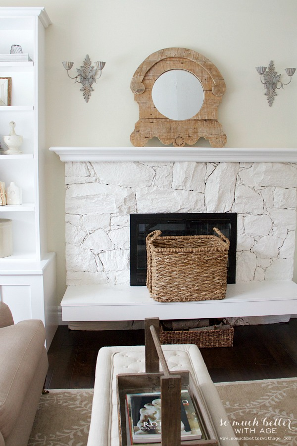Rustic French mantel | somuchbetterwithage.com