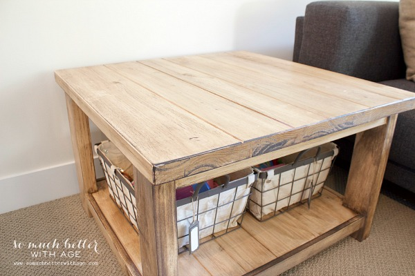 Stained coffee table / Ikea Rekarne table makeover | somuchbetterwithage.com