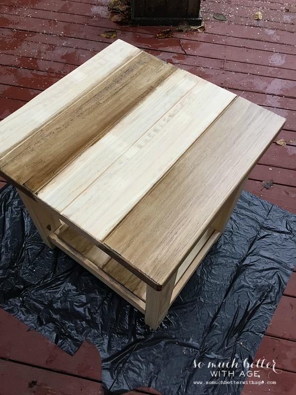 Staining / Ikea Rekarne table makeover | somuchbetterwithage.com